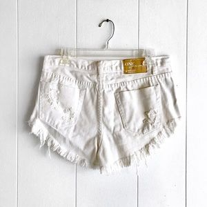 One Teaspoon White Rollers Distressed Shorts